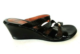 Sofft Black Patent Leather Open Toe Wedge Heels Sandals Shoes Women's 8 M (SW3) - $64.99