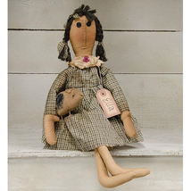 "primitive country farmhouse fabric ELLA w/ stuffed Pig 17.5"" DOLL in gin... - $41.99"