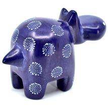 "Hand Carved Kisii Soapstone ""Happiness"" Dark Blue Hippopotamus Hippo Figure image 4"