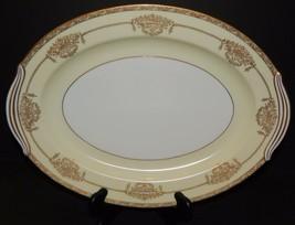 """Noritake China  16"""" Serving Platter Bancroft 5481 Gold Trim Raised Flora... - $69.29"""