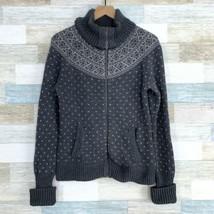 Talbots Ski Lodge Turtleneck Cardigan Sweater Gray Zip Fair Isle Womens ... - $45.53