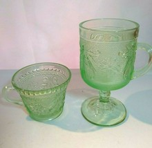 Tiara Indiana Glass Chantilly Green Sandwich Pattern Footed Mug & Cup Vintage - $18.99