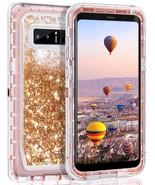 Samsung Galaxy Note 8 Tough Defender Sparkling Liquid Glitter Heart Case... - $14.99