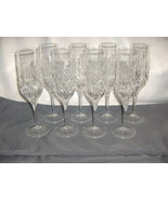 8 Vintage Royal Doulton Fine Crystal Summit Wine Flutes Criss Cross Spears NICE - $113.85