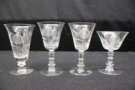NM Vintage Set of 4 Fostoria ROSE Cut #827 Crystal Stemware Glasses w/St... - $39.99