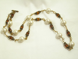 Faux PEARL Faceted GOLD CRYSTAL Beads Necklace AMBER Antiqued Filigree V... - $36.62