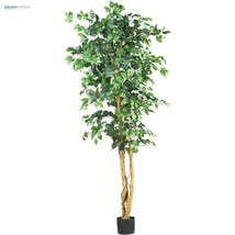 Ficus Tree Artificial Silk Potted Large 6 Ft Fake Plant Home Office Floral Decor - $74.24