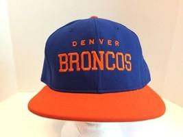 Vintage AJD NFL Denver Broncos 90s Hat Cap Snapback Blue Orange USA Adjustable - $27.87