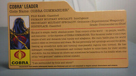 HASBRO VINTAGE GI JOE COBRA COMMANDER COBRA LEADER BIO FILE CARD - $10.00