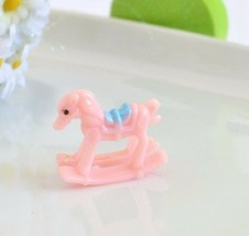 6 Mini Pink Baby Shower Rocking Horse Favors Cake Toppers Girl Gender Re... - $6.99