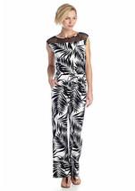 Ruby Rd Palm Reader Leaf Print Jumpsuit Sleeveless Long Pant Sz L NWT - $39.03