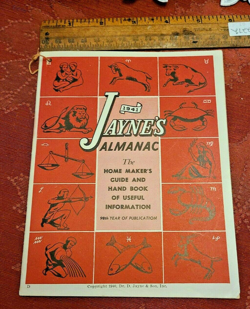 Vintage 1941 Jayne's Almanac Home Maker's Guide & Hand Book Useful Information