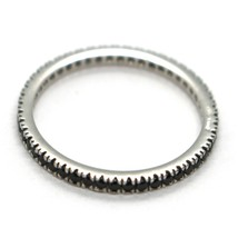 18K WHITE GOLD THIN ETERNITY BAND RING, BLACK CUBIC ZIRCONIA, THICKNESS 2 MM image 2
