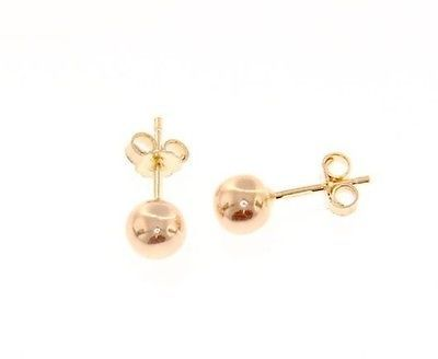 18K ROSE PINK GOLD EARRINGS WITH 6 MM BALLS BALL ROUND SPHERE, MADE IN ITALY
