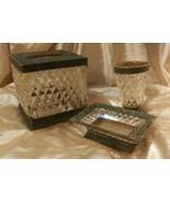 Vnt. Diamond Metro Luxury 3 pc Tissue Box, Soap Dish,Tumbler, HOLLYWOOD ... - $31.68