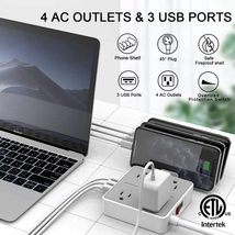 Power Strip 4 Outlets & 3 USB Ports & Removable Phone Holder Charger Station image 4