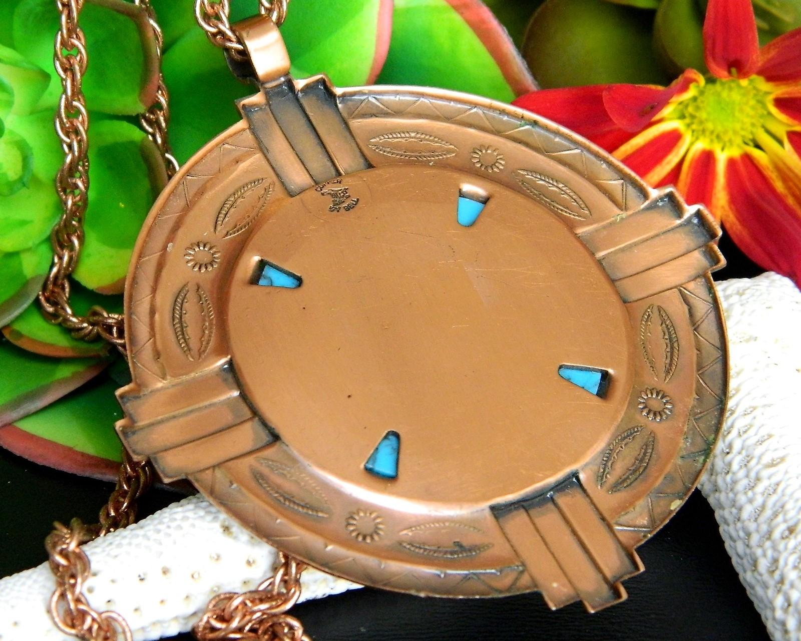 Vintage Bell Trading Post Copper Faux Turquoise Pendant Necklace Chain