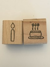 Morningstar Rubber Stamps Birthday Cake Candle Lot 2 Small Celebration Crafts - $4.50