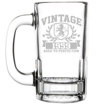 12oz Beer Mug Stein Glass Vintage Aged To Perfection 1959 60th Birthday - $12.86