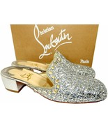Christian Louboutin Spiky Sun 35 Mules Silver Glitter Slides Loafers Mul... - $539.00