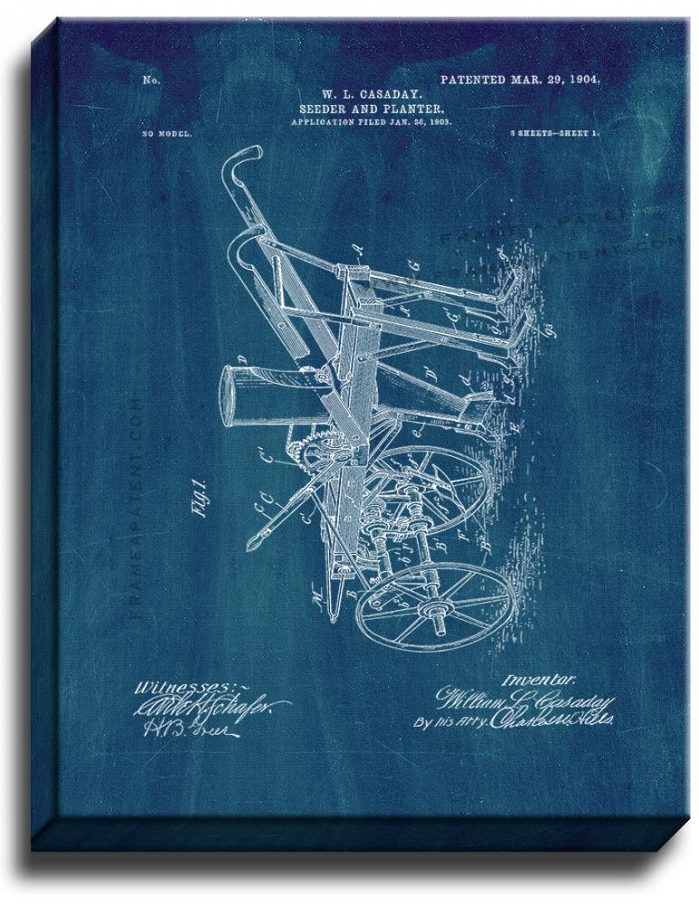 Primary image for Seeder And Planter Patent Print Midnight Blue on Canvas