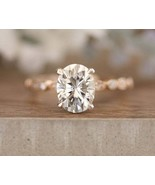 2.56Ct Oval Cut 8x6mm White  Diamond Halo Engagement Ring 925 Sterling S... - $73.71