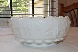 Westmoreland Milk Glass Centerpiece Bowl Grape Pattern Dish Vintage~ - $35.63