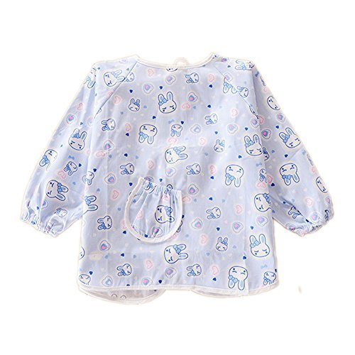 2 PCs Blue Rabbit Cotton Waterproof Sleeved Bib for 1-2 Years Old, M