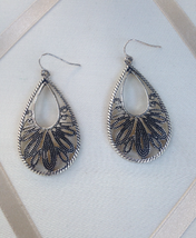 Vintage Premier Designs Tear Drop Silver Tone Black Filigree Fashion Ear... - $35.00