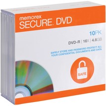 Memorex 98968 Secure DVD-Rs with AES 256-Bit Software Encryption (10 Pack) - $31.99