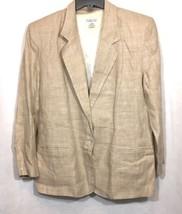 Talbots Womens Blazer Size 10 Light Brown Button Down 100% Linen Career ... - $9.74