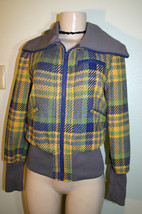 TULLE Sz S Gray Blue Yellow Green Plaid Poly Wool Blend Ribbed Trim Jacket - $18.99