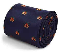 Frederick Thomas Christmas Secret Santa navy blue tie with bells design