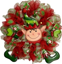 Christmas Wreath  With Peek A Boo Elf Handmade Deco Mesh - $92.99