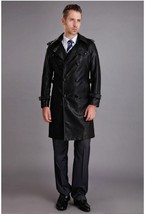 Winter Men Leather Coat Tailor Made Real Genuine Leather Trench Coat -US-56 - $180.50