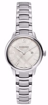 BURBERRY BU10108 Silver Stainless STEEL The Classic Round Ladies Watch NIB - $337.05