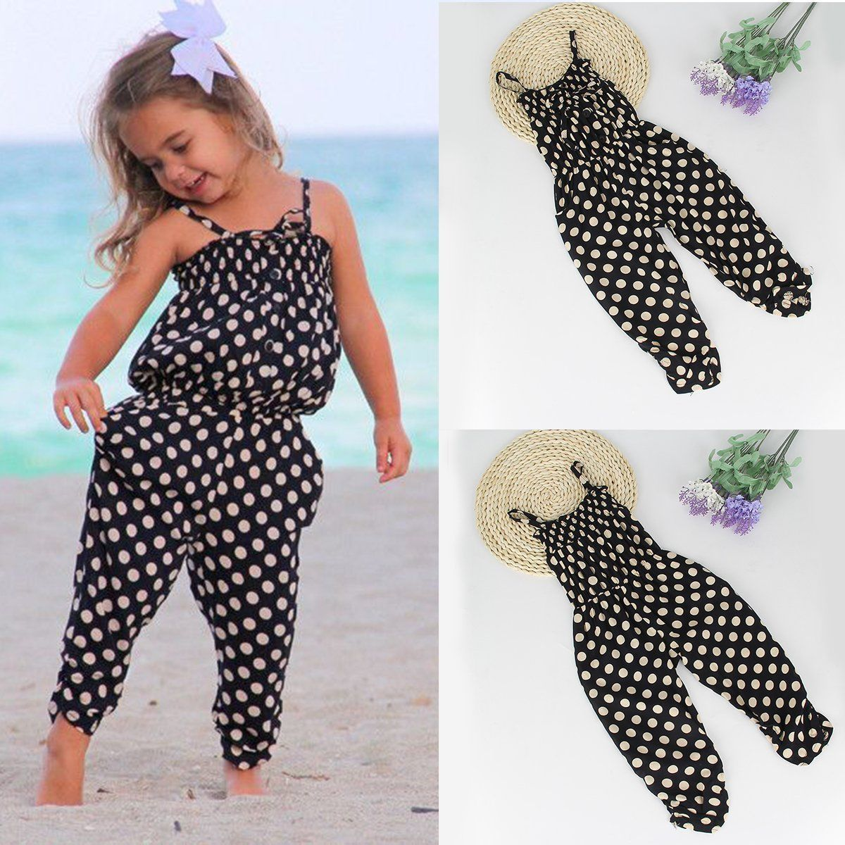 Toddler Kids Baby Girl Summer Strap Romper Jumpsuit Harem Pants Trousers Clothes