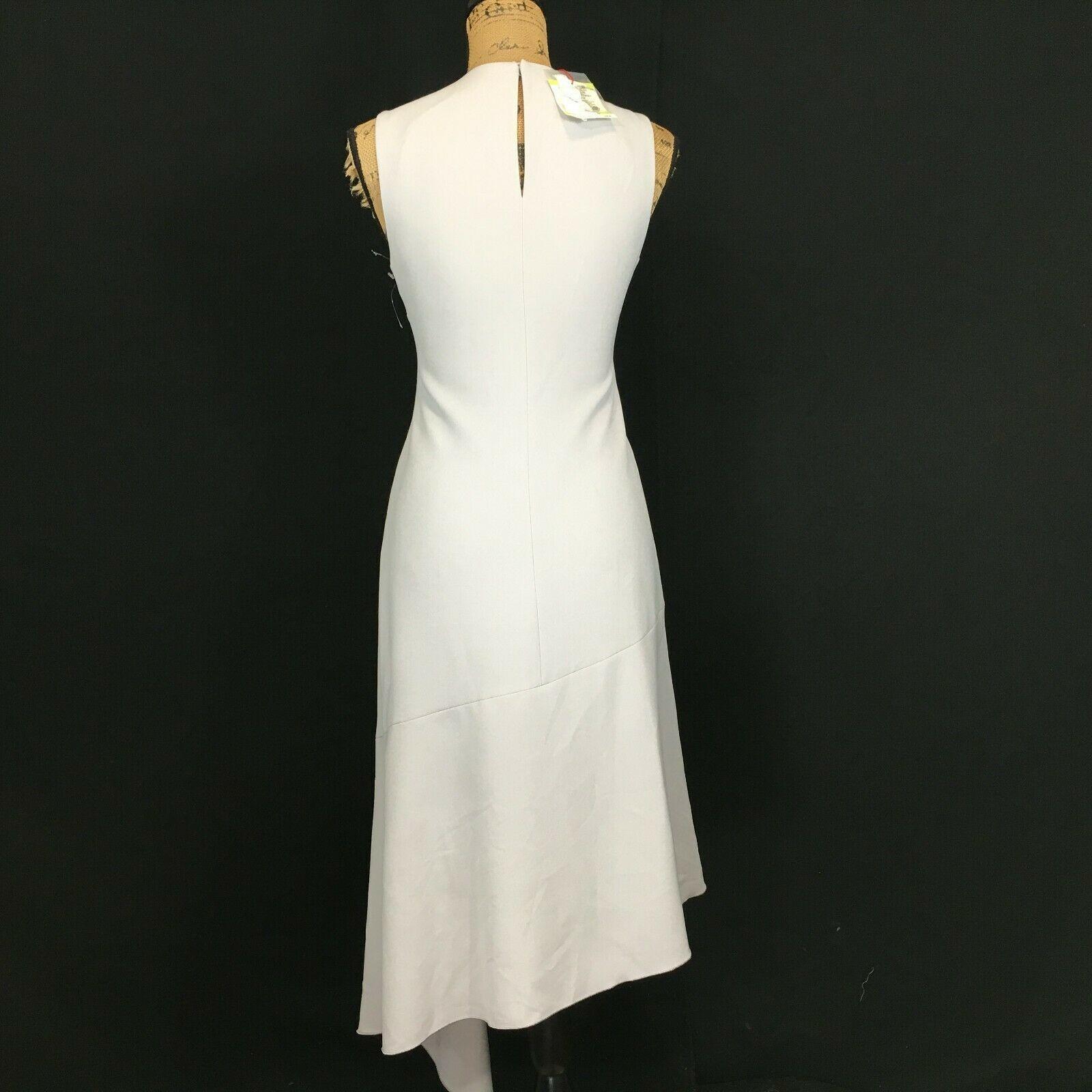 NEW Anne Klein Dress 4 Sm Grey Long Pencil Fit Flare Asymmetric Hem Sexy $139 image 4