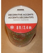 Christmas Garland Beads 8' Feet Ashland Decorative Accents Red/White/Gre... - $9.49