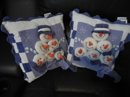 Lot of 2 Blue Snowman Pillows Christmas Holiday Winter 3D Soft sculpture - $10.99