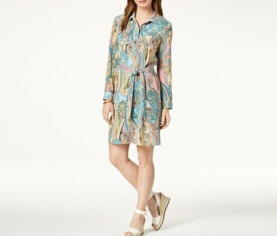 Tommy Hilfiger Paisley Tie-Belt Shirtdress, Jaipur Paisley, 4