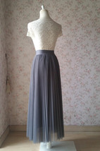 Gray Pleated Long Tulle Skirt Plus Size Pleated Tulle Tutu Skirt High Waisted image 4