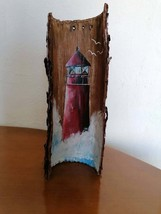 Oil Painting on Pine Wood Bark-Handmade Red Lighthouse-Nautical Theme-Ho... - $65.00