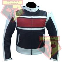 CUSTOM 4610 RED/BLACK MOTORBIKE MOTORCYCLE COWHIDE LEATHER ARMOURED JACKET - $194.99
