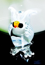 Glass Owl Figurine Blown Art Bird Vintage Hand Tiny Clear Tall Animal De... - $8.09