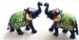 set of 2pc Elephant figurine Resin handmade mirror work statue home deco... - $39.35
