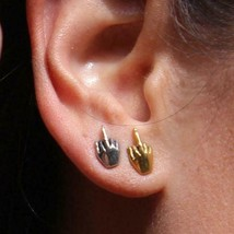 Han Cholo Silver or Gold Plated FU Middle Finger Post Stud Earrings NEW image 2