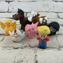 Fisher Price Little People Farm Animal Lot Farmer Horse Chicken Black Sheep - $24.74