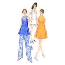 1970s Vintage Vogue Sewing Pattern 7821 Misses ALine Dress Tunic Pants Keyhole 8 - $34.95