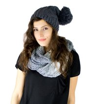 Women's Cute Cat Bunny Ear Slouchy Knit Beanie Hat Cap (Cable Knit Pom C... - $9.89